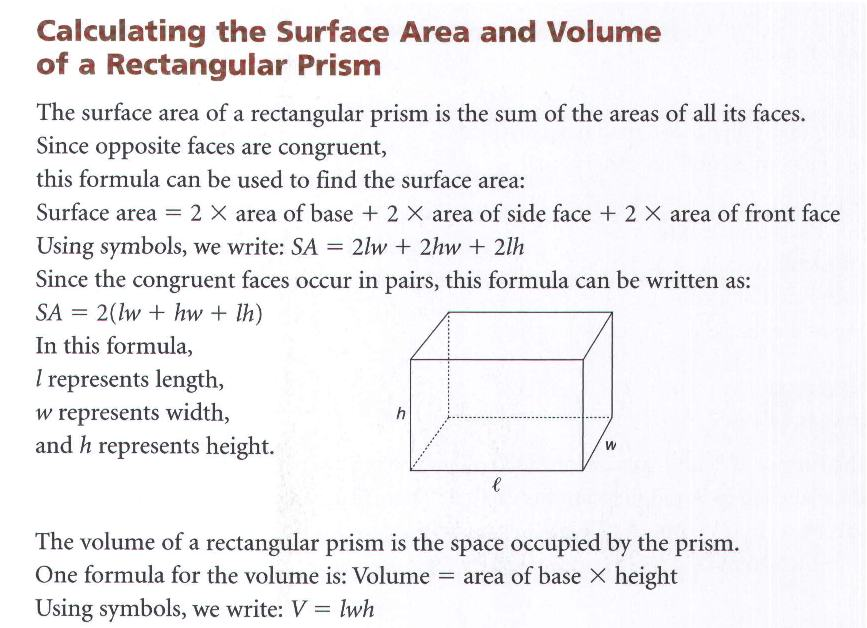formula of surface area and volume class 10 pdf